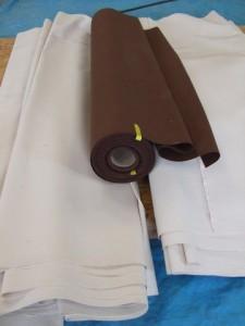 toile polycoton marron et écrue